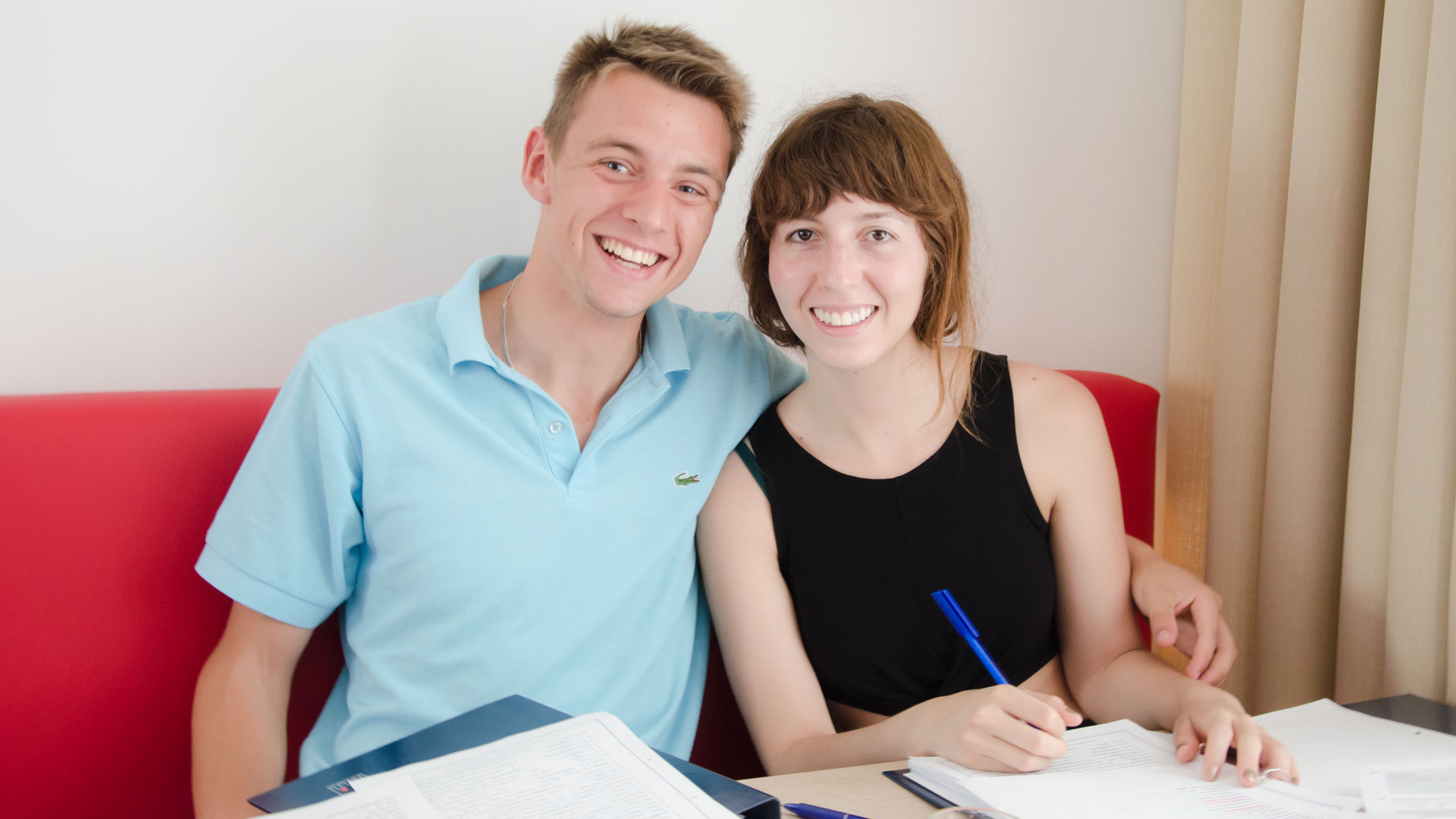 Two students studying German together