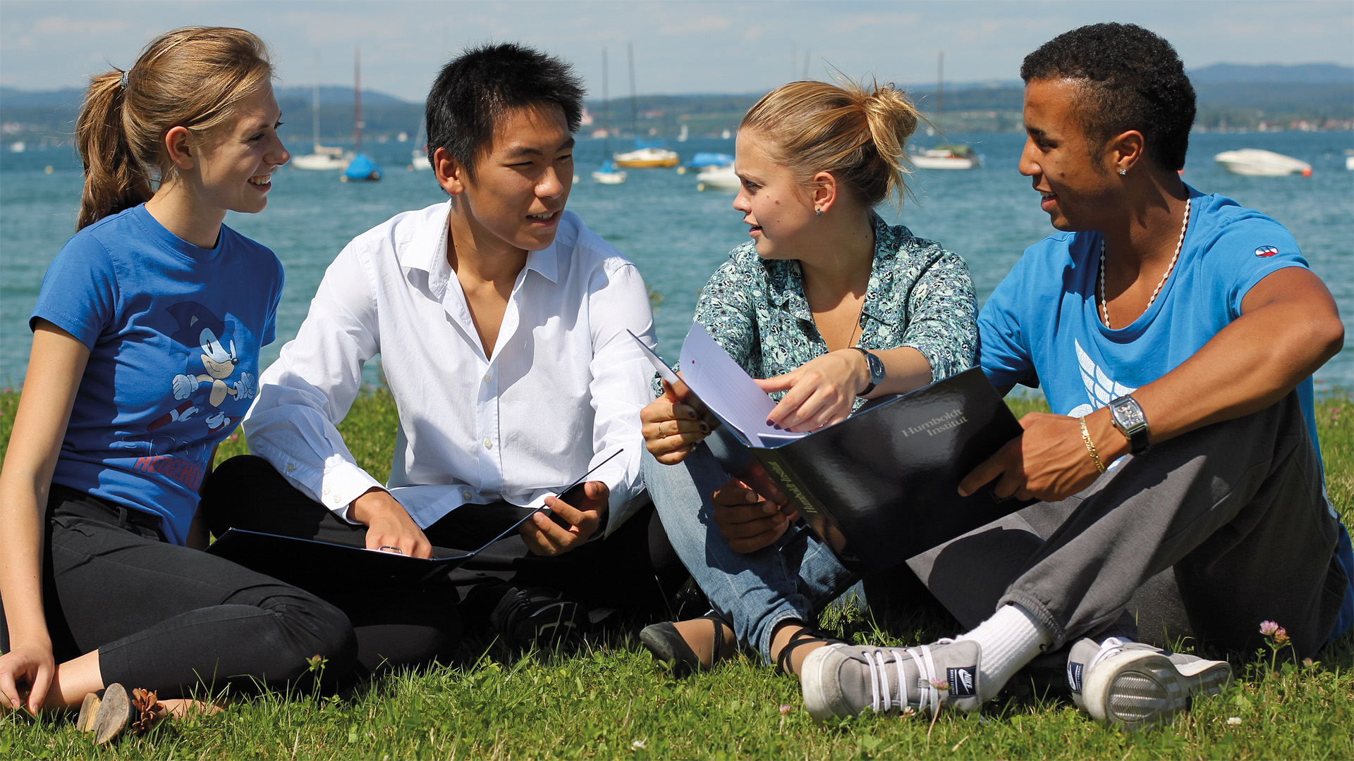 Students learning German at the shores of Lake Constance