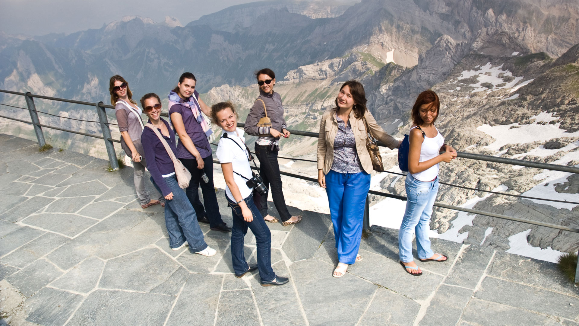 Students enjoying the view from Mount Säntis in Switzerland