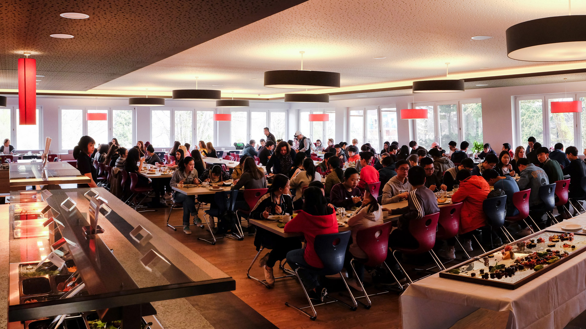 Students in the school's dining hall