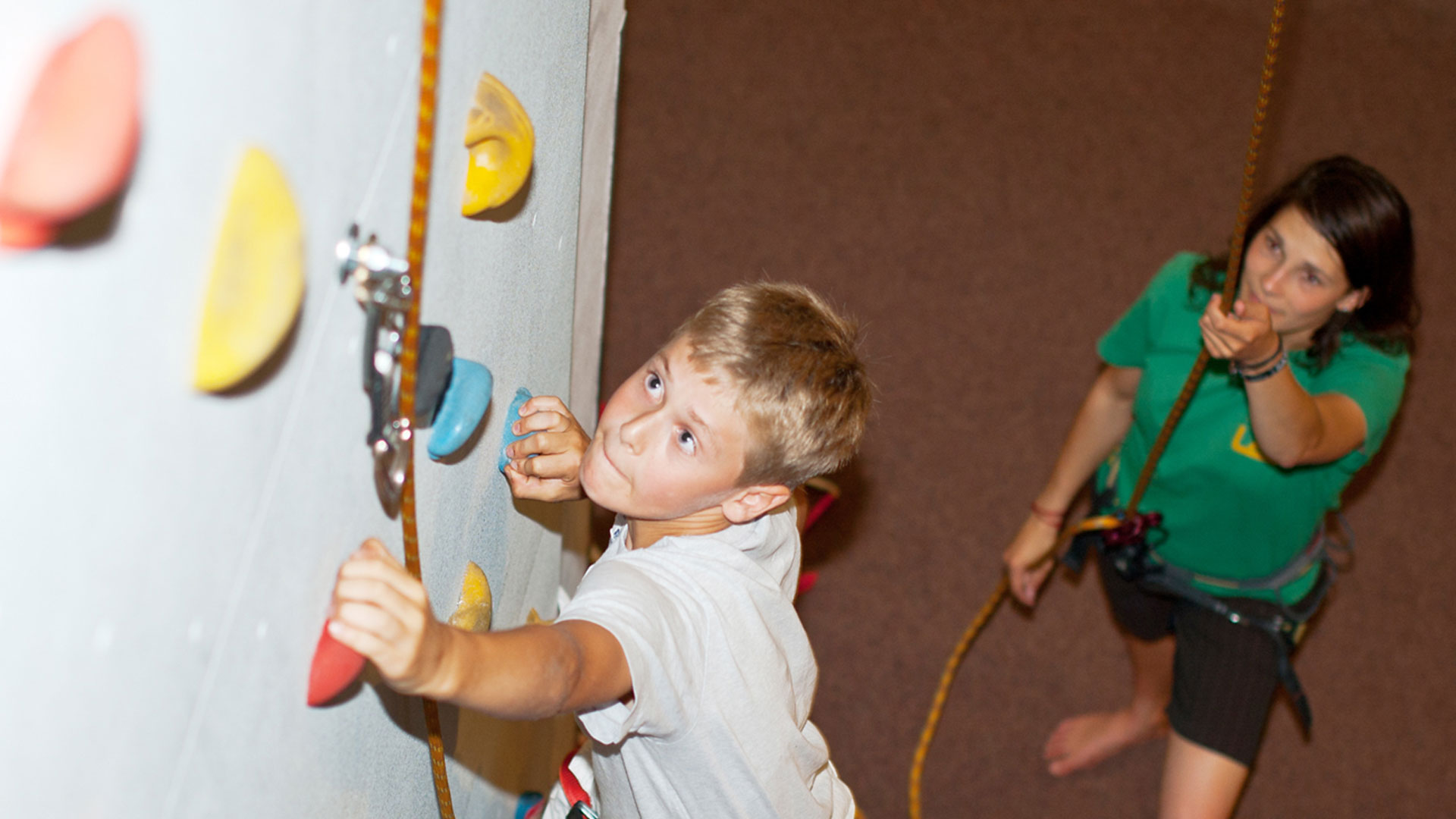 One of our students at the climbing wall