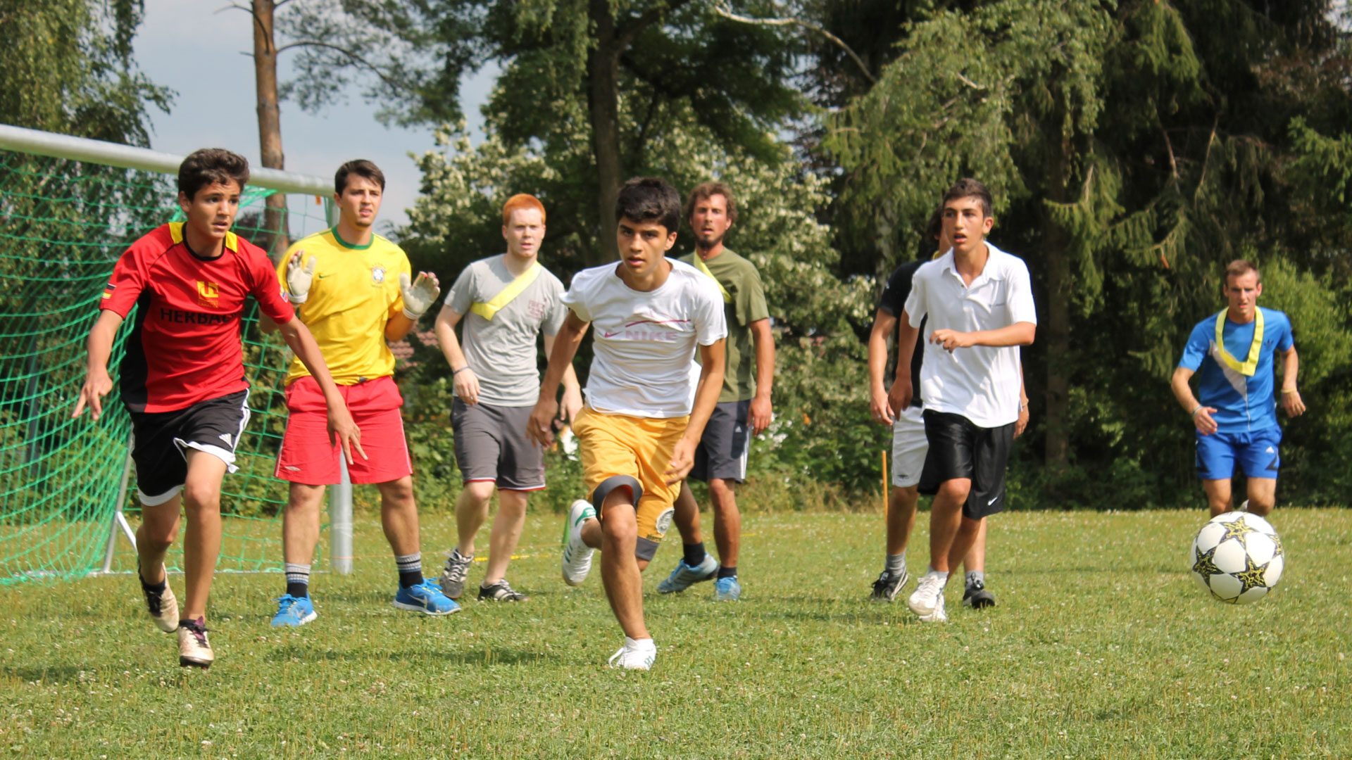 Playing football on the school's campus