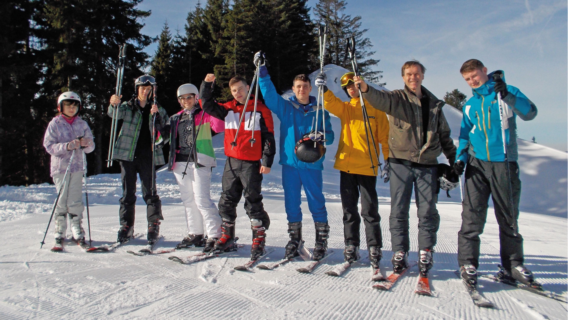 Students on skiing excursion
